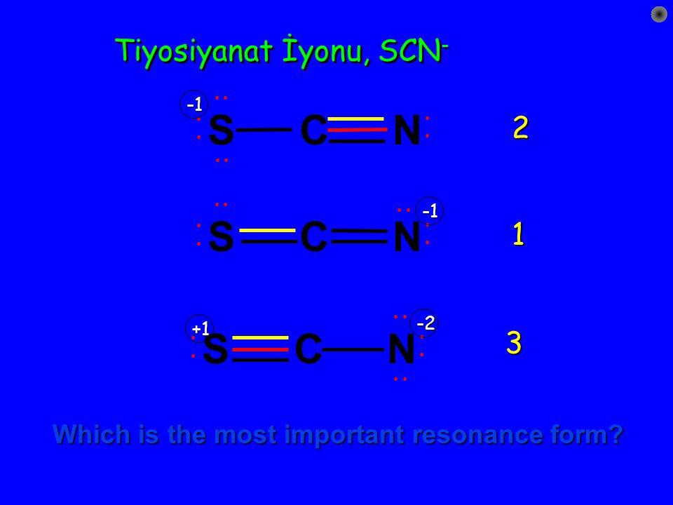Rezonans katkı kuralları Atomlar üzerindeki formal yükler mümkün olduğunca küçük olmalıdır. Aynı formal yüklü atomlar birbirine komşu olmamalıdır. Zıt