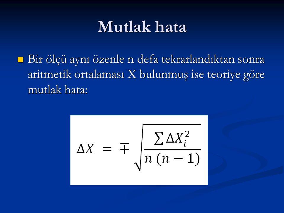 Mutlak hata Bir ölçü aynı özenle n defa tekrarlandıktan sonra aritmetik ortalaması X bulunmuş ise teoriye göre mutlak hata: Bir ölçü aynı özenle n def