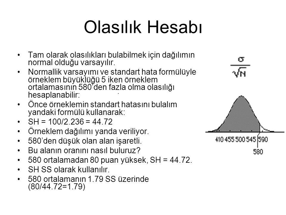 Olasılık Hesabı Tam olarak olasılıkları bulabilmek için dağılımın normal olduğu varsayılır. Normallik varsayımı ve standart hata formülüyle örneklem b
