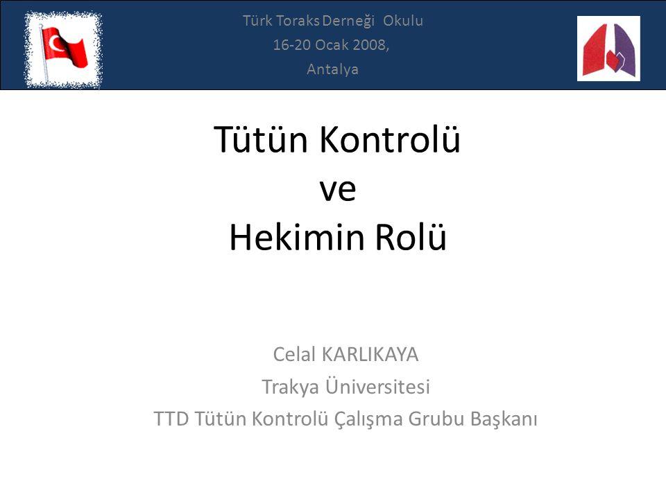 Celal KARLIKAYA Trakya Üniversitesi TTD Tütün Kontrolü Çalışma Grubu Başkanı Tütün Kontrolü ve Hekimin Rolü Türk Toraks Derneği Okulu 16-20 Ocak 2008,