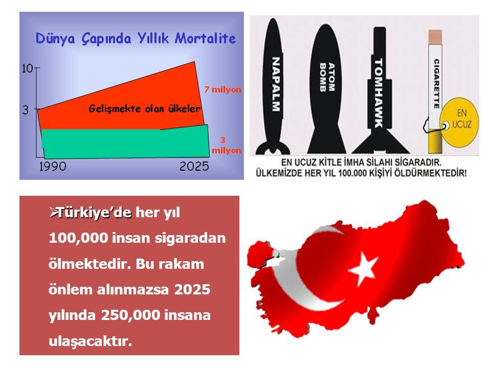  Türkiye'de  Türkiye'de her yıl 100,000 insan sigaradan ölmektedir. Bu rakam önlem alınmazsa 2025 yılında 250,000 insana ulaşacaktır.