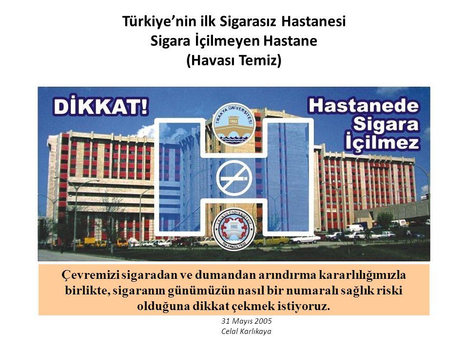 31 Mayıs 2005 Celal Karlıkaya Türkiye'nin ilk Sigarasız Hastanesi Sigara İçilmeyen Hastane (Havası Temiz) Çevremizi sigaradan ve dumandan arındırma ka