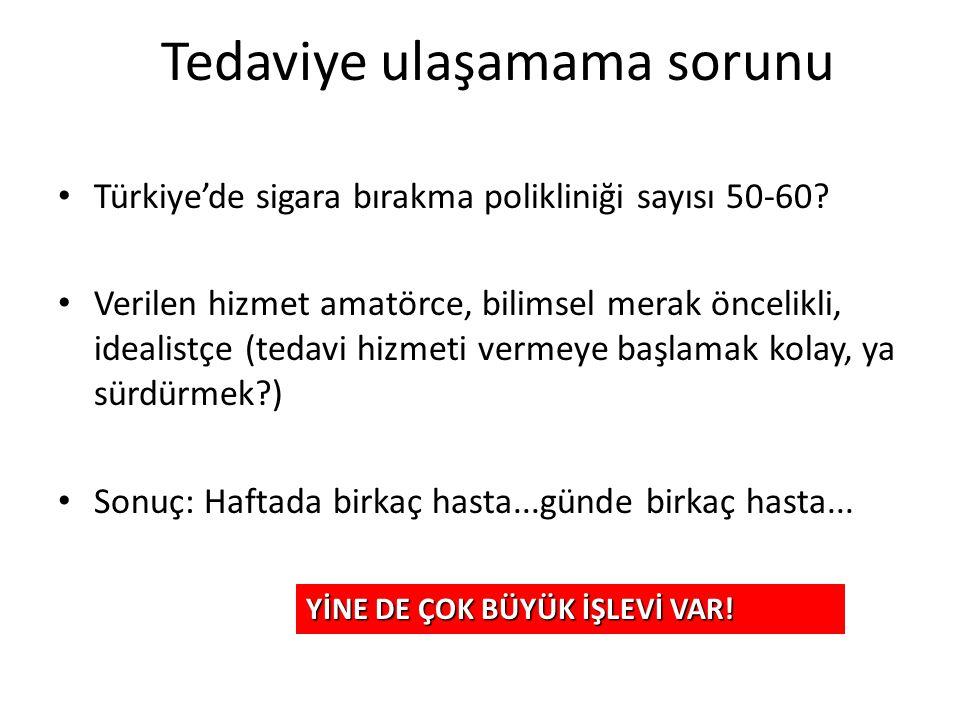 Tedaviye ulaşamama sorunu Türkiye'de sigara bırakma polikliniği sayısı 50-60? Verilen hizmet amatörce, bilimsel merak öncelikli, idealistçe (tedavi hi