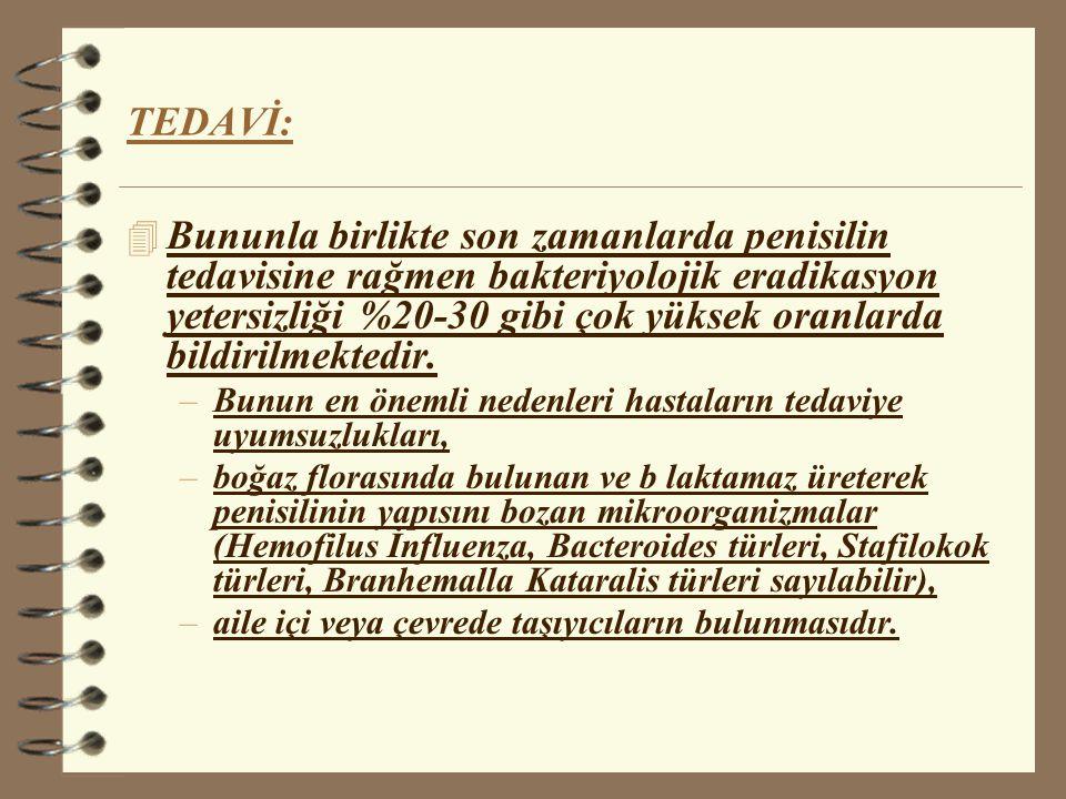 TEDAVİ: 4 Penisilin kullanılır.