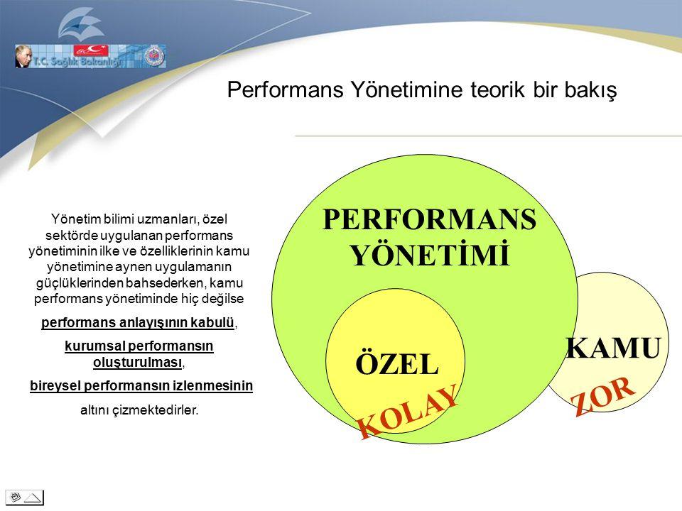 Performans Yönetimine teorik bir bakış Yönetim bilimi uzmanları, özel sektörde uygulanan performans yönetiminin ilke ve özelliklerinin kamu yönetimine aynen uygulamanın güçlüklerinden bahsederken, kamu performans yönetiminde hiç değilse performans anlayışının kabulü, kurumsal performansın oluşturulması, bireysel performansın izlenmesinin altını çizmektedirler.