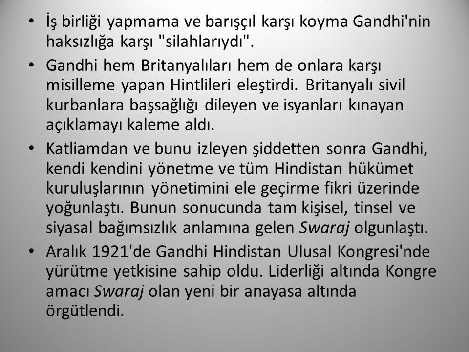 İş birliği yapmama ve barışçıl karşı koyma Gandhi'nin haksızlığa karşı