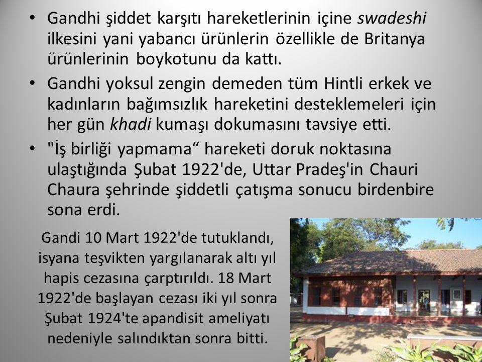 Gandi 10 Mart 1922'de tutuklandı, isyana teşvikten yargılanarak altı yıl hapis cezasına çarptırıldı. 18 Mart 1922'de başlayan cezası iki yıl sonra Şub