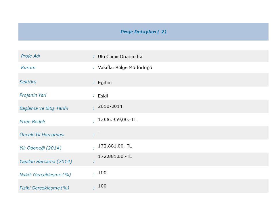 Proje Detayları ( 2) Proje Adı: Ulu Camii Onarım İşi Kurum:Vakıflar Bölge Müdürlüğü Sektörü: Eğitim Projenin Yeri: Eskil Başlama ve Bitiş Tarihi: 2010-2014 Proje Bedeli: 1.036.959,00.-TL Önceki Yıl Harcaması: - Yılı Ödeneği (2014): 172.881,00.-TL Yapılan Harcama (2014): 172.881,00.-TL Nakdi Gerçekleşme (%): 100 Fiziki Gerçekleşme (%): 100