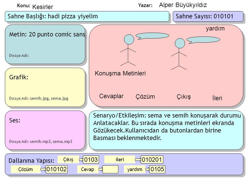 Yazar: Konu: Metin: Dosya Adı: Metin: Dosya Adı: Ses ve Animasyon: Dosya Adı: pizza.swf Ses ve Animasyon: Dosya Adı: pizza.swf Grafik: Dosya Adı: Grafik: Dosya Adı: Senaryo/Etkileşim: pizza yiyelim sorusunun çözümünü gösteren sesli bir animasyon gösterilecek Kullanıcıdan butonlardan birine basması beklenecek.