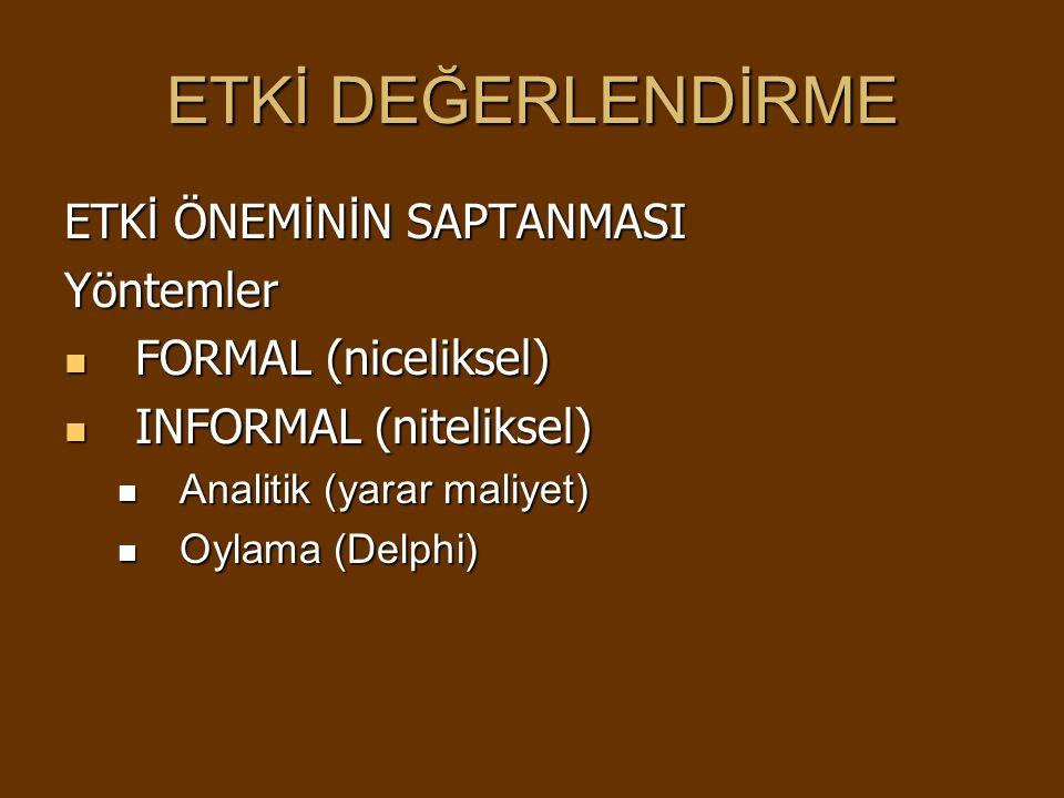 ETKİ DEĞERLENDİRME ETK İ ÖNEM İ N İ N SAPTANMASI Yöntemler FORMAL (niceliksel) FORMAL (niceliksel) INFORMAL (niteliksel) INFORMAL (niteliksel) Analitik (yarar maliyet) Analitik (yarar maliyet) Oylama (Delphi) Oylama (Delphi)