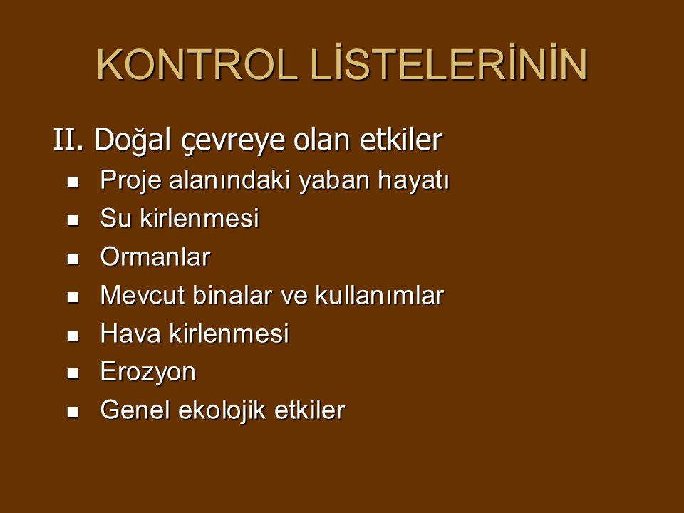 KONTROL LİSTELERİNİN II.