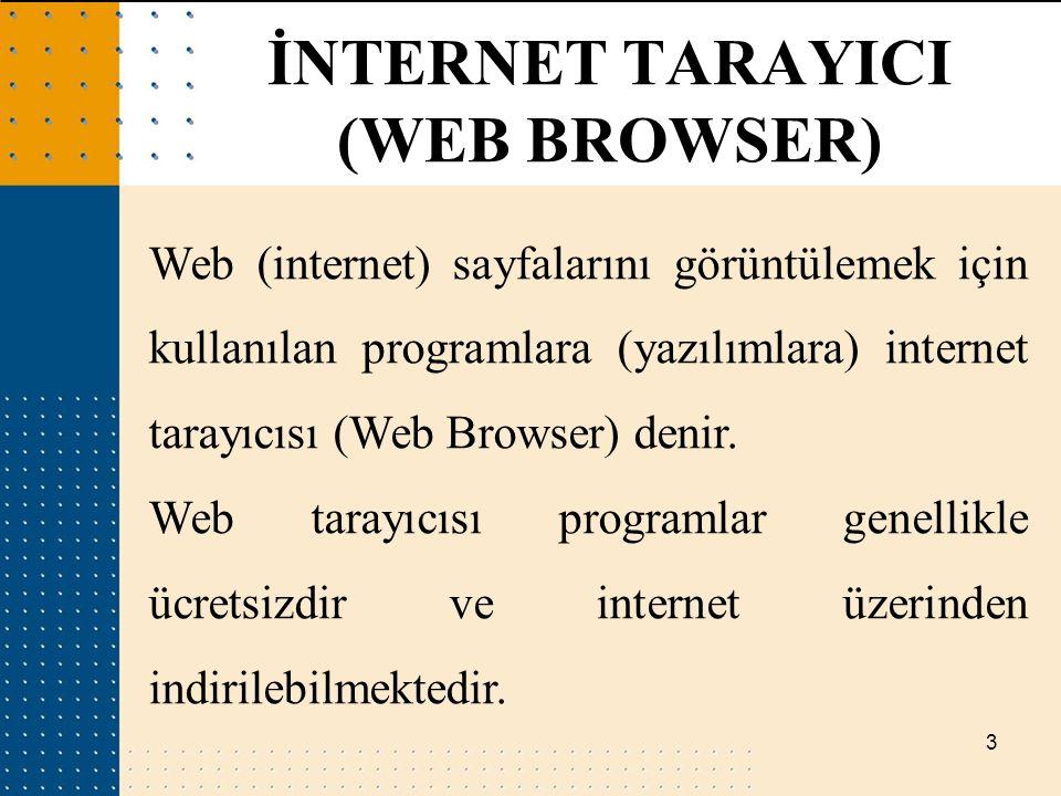 3 Web (internet) sayfalarını görüntülemek için kullanılan programlara (yazılımlara) internet tarayıcısı (Web Browser) denir. Web tarayıcısı programlar