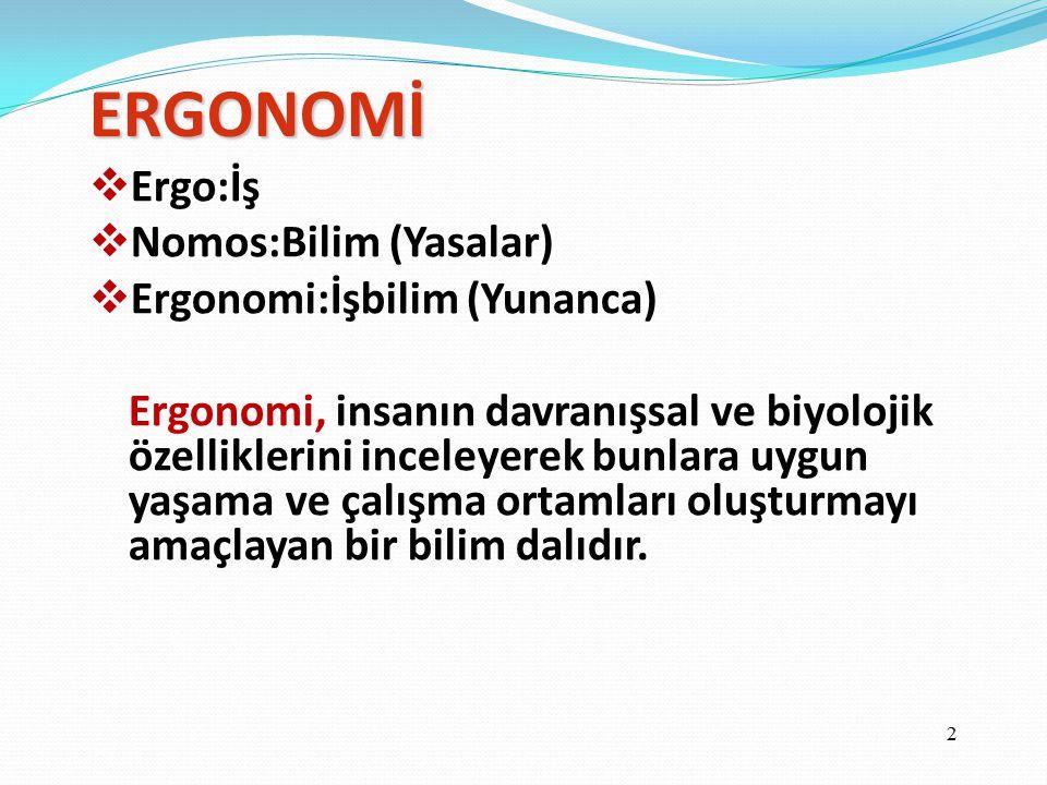 ERGONOMİ  Ergo:İş  Nomos:Bilim (Yasalar)  Ergonomi:İşbilim (Yunanca) Ergonomi, insanın davranışsal ve biyolojik özelliklerini inceleyerek bunlara