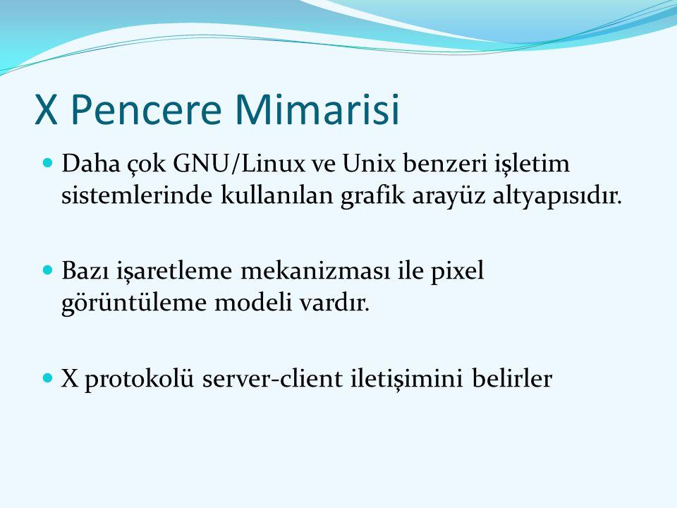 X Pencere Mimarisi Daha çok GNU/Linux ve Unix benzeri işletim sistemlerinde kullanılan grafik arayüz altyapısıdır. Bazı işaretleme mekanizması ile pix