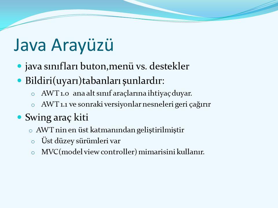 Java Arayüzü java sınıfları buton,menü vs. destekler Bildiri(uyarı)tabanları şunlardır: o AWT 1.0 ana alt sınıf araçlarına ihtiyaç duyar. o AWT 1.1 ve