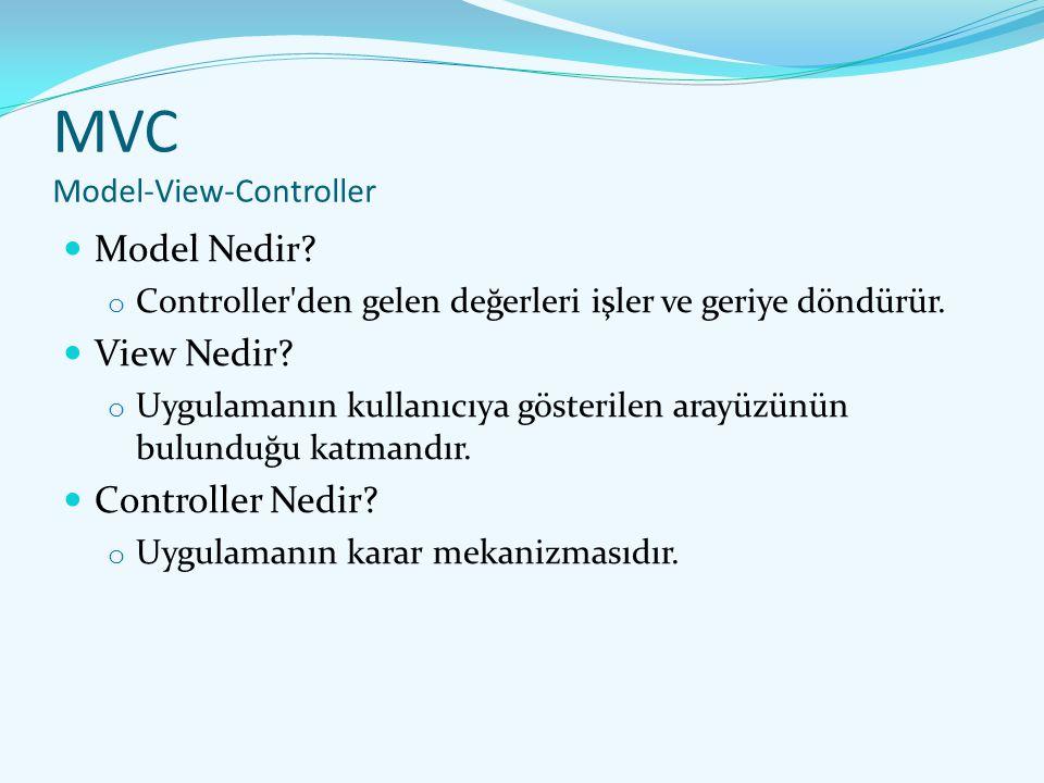 MVC Model-View-Controller Model Nedir? o Controller'den gelen değerleri işler ve geriye döndürür. View Nedir? o Uygulamanın kullanıcıya gösterilen ara