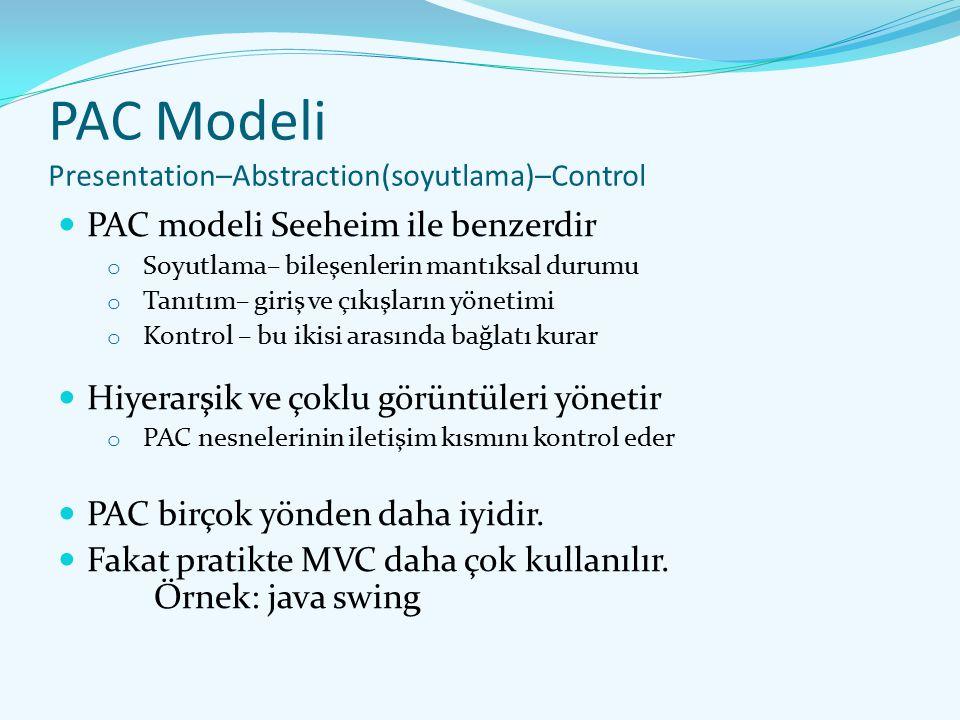 PAC Modeli Presentation–Abstraction(soyutlama)–Control PAC modeli Seeheim ile benzerdir o Soyutlama– bileşenlerin mantıksal durumu o Tanıtım– giriş ve