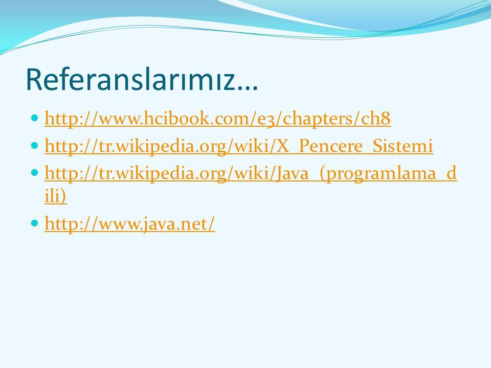 Referanslarımız… http://www.hcibook.com/e3/chapters/ch8 http://tr.wikipedia.org/wiki/X_Pencere_Sistemi http://tr.wikipedia.org/wiki/Java_(programlama_
