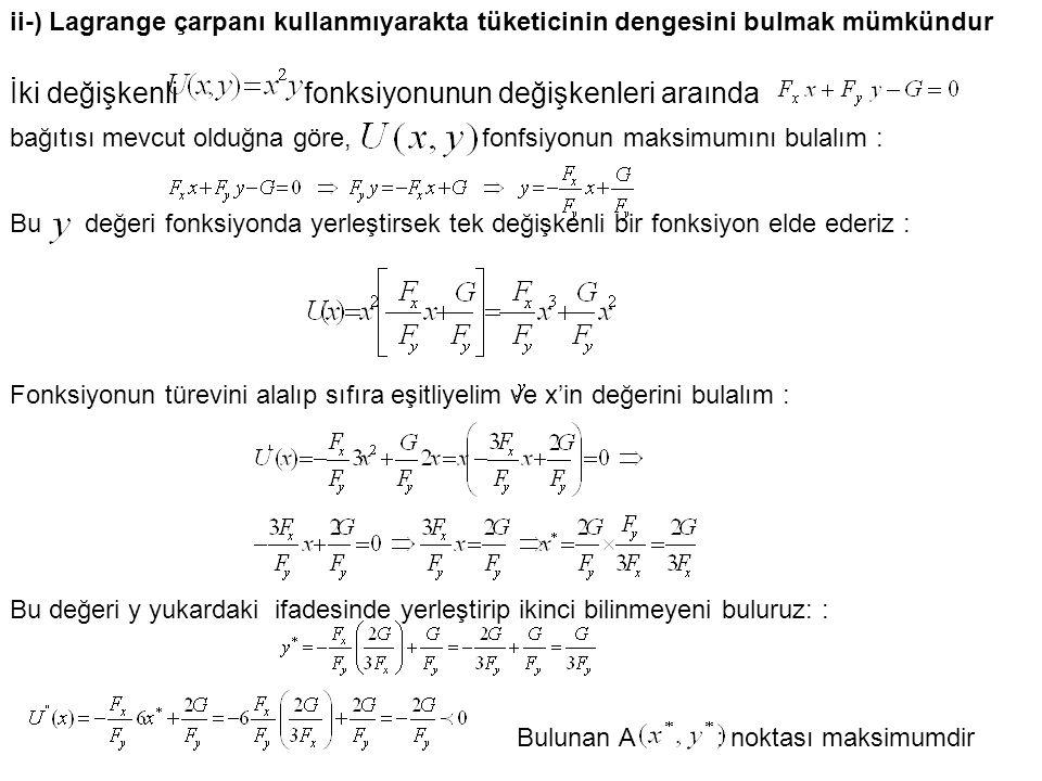 ii-) Lagrange çarpanı kullanmıyarakta tüketicinin dengesini bulmak mümkündur İki değişkenli fonksiyonunun değişkenleri araında bağıtısı mevcut olduğna