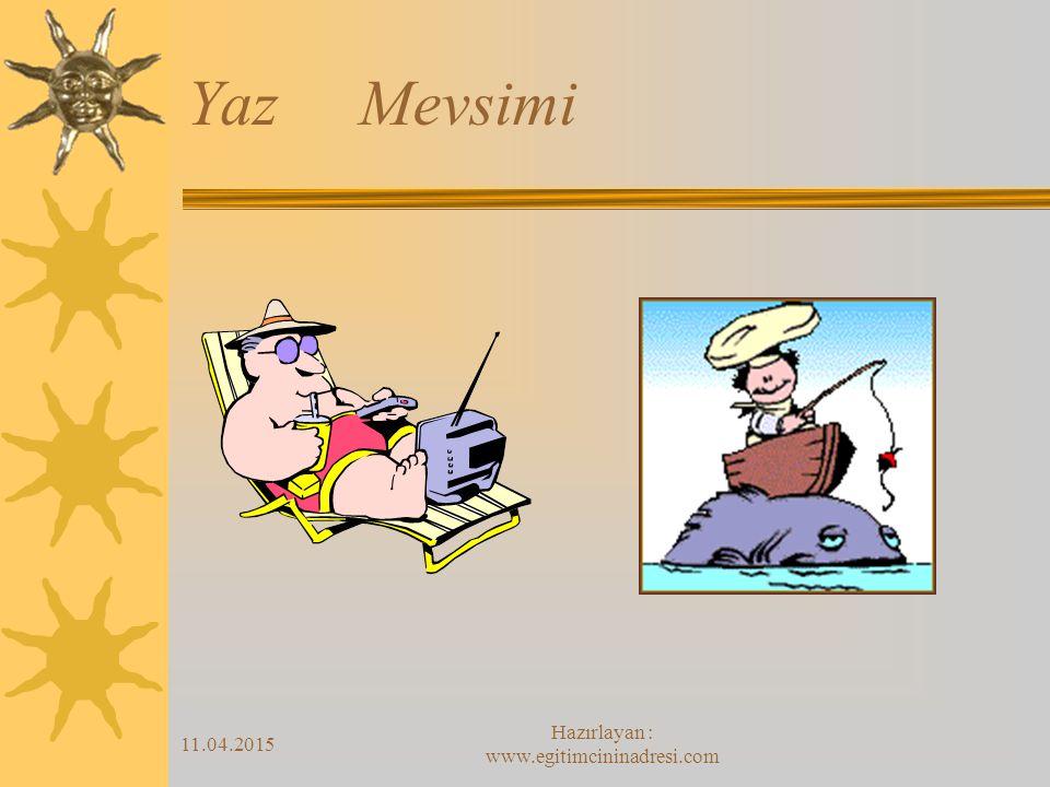 11.04.2015 Hazırlayan : www.egitimcininadresi.com Yaz Mevsimi