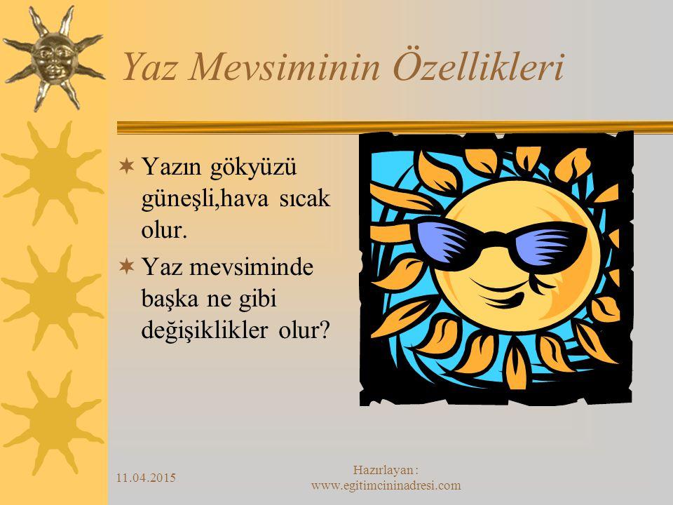11.04.2015 Hazırlayan : www.egitimcininadresi.com Yaz Mevsiminin Özellikleri  Yazın gökyüzü güneşli,hava sıcak olur.