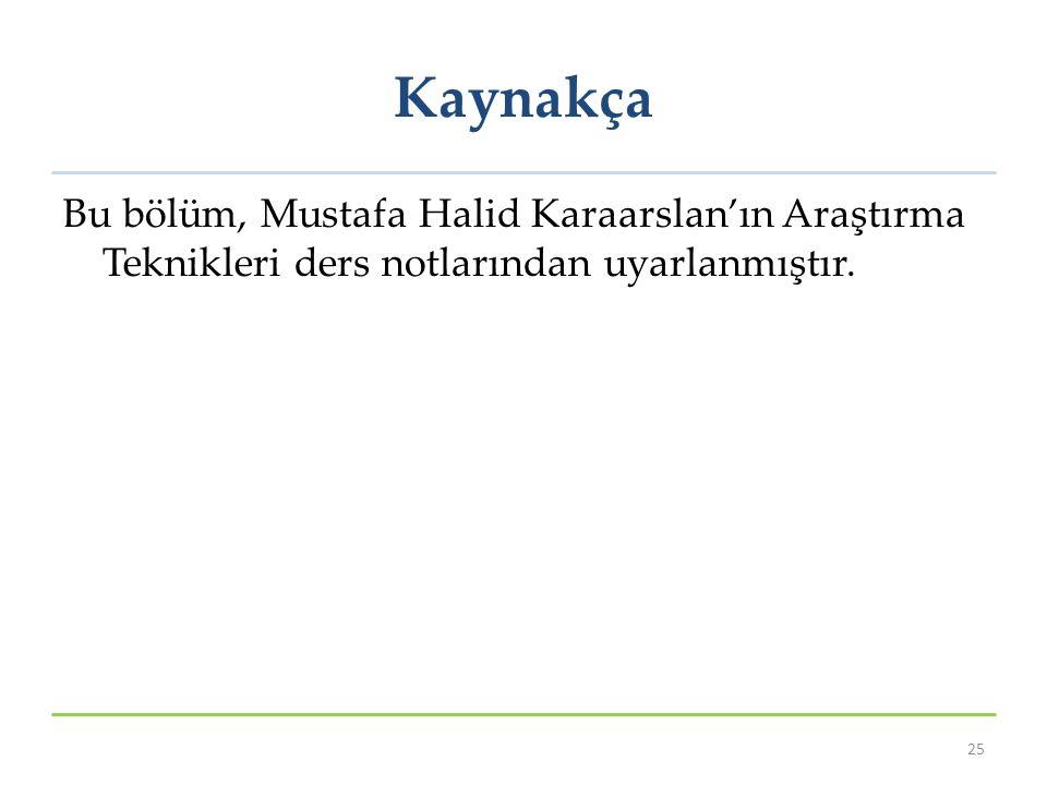 Kaynakça Bu bölüm, Mustafa Halid Karaarslan'ın Araştırma Teknikleri ders notlarından uyarlanmıştır. 25