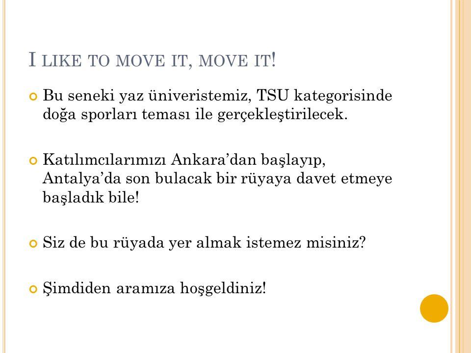I LIKE TO MOVE IT, MOVE IT ! Bu seneki yaz üniveristemiz, TSU kategorisinde doğa sporları teması ile gerçekleştirilecek. Katılımcılarımızı Ankara'dan