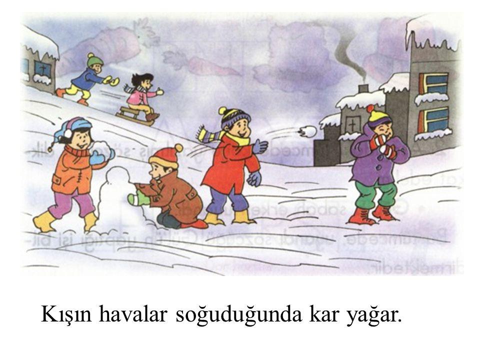 Kışın havalar soğuduğunda kar yağar.