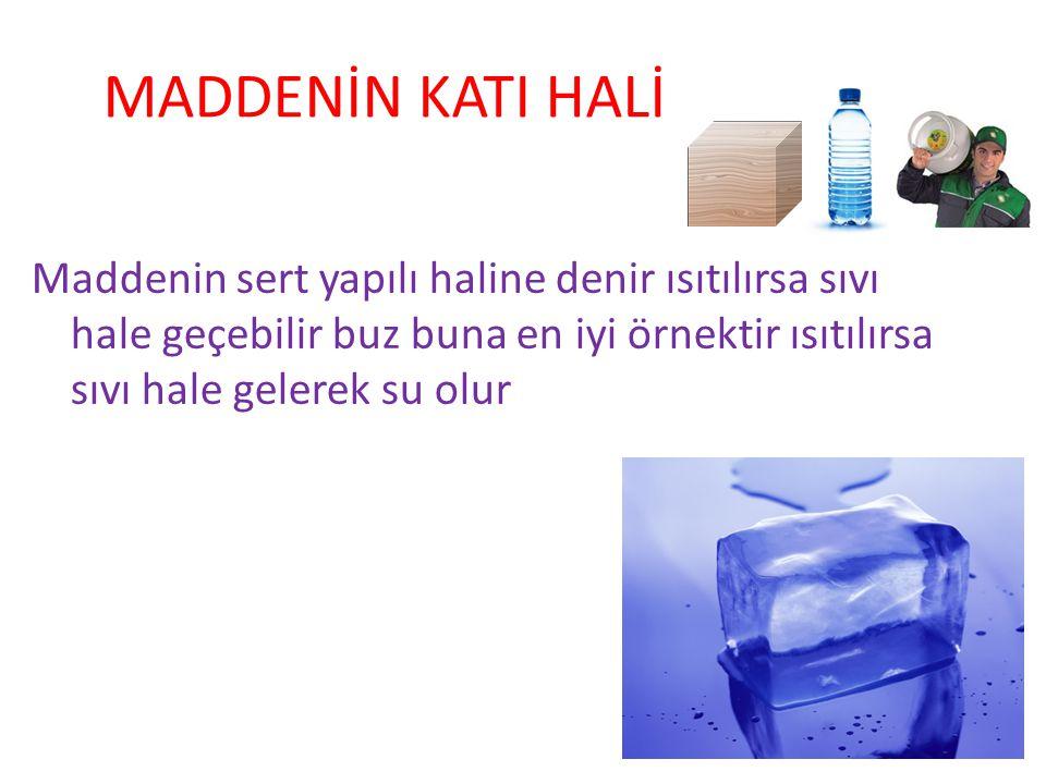 MADDENİN KATI HALİ Maddenin sert yapılı haline denir ısıtılırsa sıvı hale geçebilir buz buna en iyi örnektir ısıtılırsa sıvı hale gelerek su olur