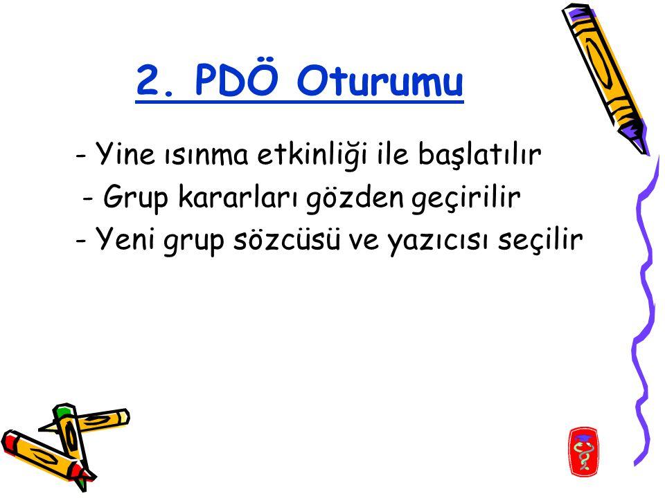 2. PDÖ Oturumu - Yine ısınma etkinliği ile başlatılır - Grup kararları gözden geçirilir - Yeni grup sözcüsü ve yazıcısı seçilir