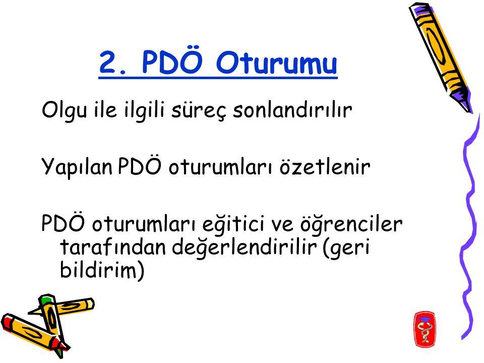 2. PDÖ Oturumu Olgu ile ilgili süreç sonlandırılır Yapılan PDÖ oturumları özetlenir PDÖ oturumları eğitici ve öğrenciler tarafından değerlendirilir (g