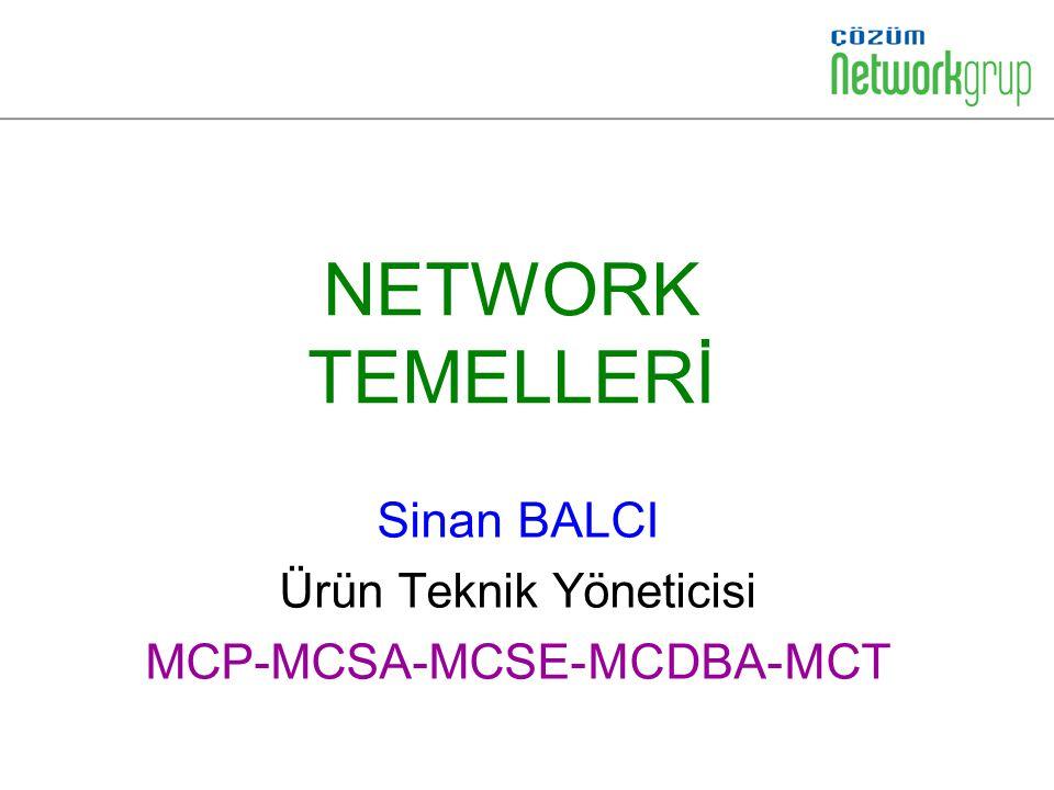 NETWORK TEMELLERİ Sinan BALCI Ürün Teknik Yöneticisi MCP-MCSA-MCSE-MCDBA-MCT