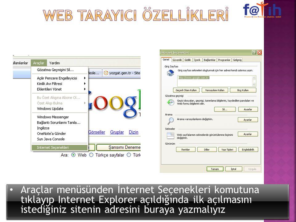 Araçlar menüsünden İnternet Seçenekleri komutuna tıklayıp Internet Explorer açıldığında ilk açılmasını istediğiniz sitenin adresini buraya yazmalıyız