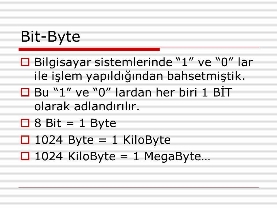 """Bit-Byte  Bilgisayar sistemlerinde """"1"""" ve """"0"""" lar ile işlem yapıldığından bahsetmiştik.  Bu """"1"""" ve """"0"""" lardan her biri 1 BİT olarak adlandırılır. """