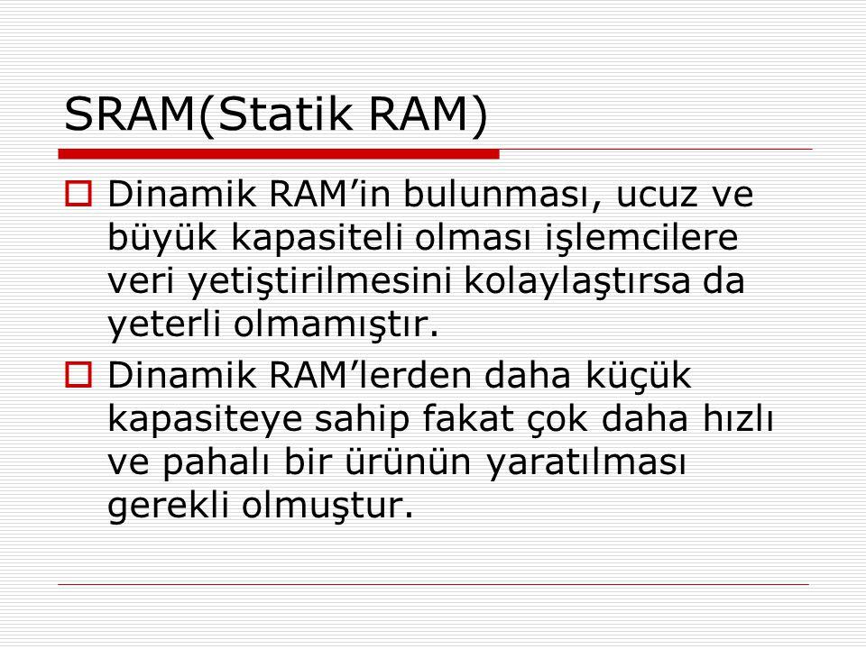 SRAM(Statik RAM)  Dinamik RAM'in bulunması, ucuz ve büyük kapasiteli olması işlemcilere veri yetiştirilmesini kolaylaştırsa da yeterli olmamıştır. 