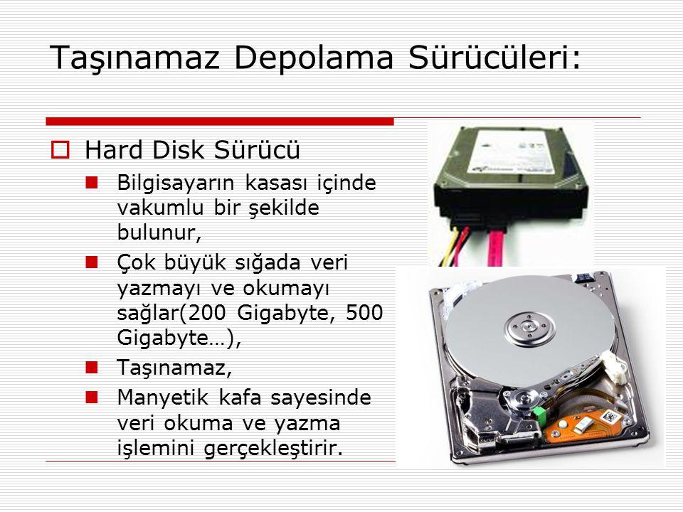 Taşınamaz Depolama Sürücüleri:  Hard Disk Sürücü Bilgisayarın kasası içinde vakumlu bir şekilde bulunur, Çok büyük sığada veri yazmayı ve okumayı sağ