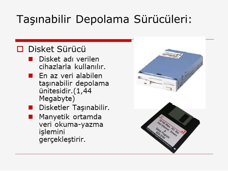 Taşınabilir Depolama Sürücüleri:  Disket Sürücü Disket adı verilen cihazlarla kullanılır. En az veri alabilen taşınabilir depolama ünitesidir.(1,44 M