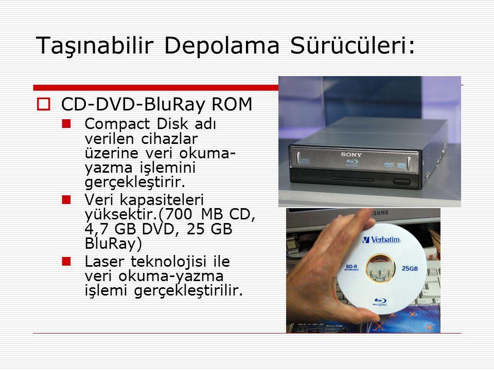 Taşınabilir Depolama Sürücüleri:  CD-DVD-BluRay ROM Compact Disk adı verilen cihazlar üzerine veri okuma- yazma işlemini gerçekleştirir. Veri kapasit