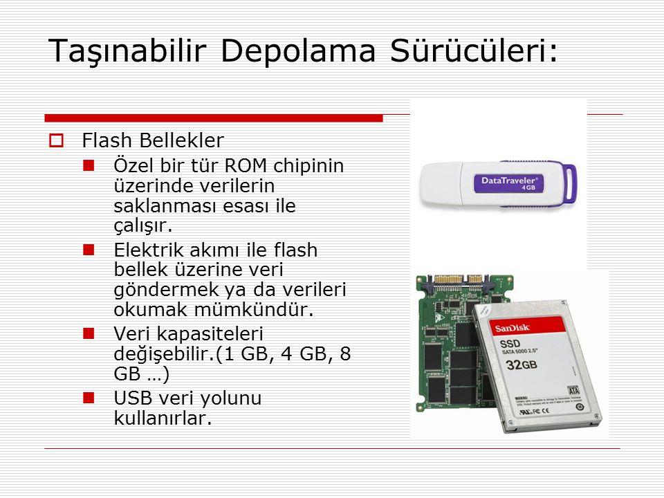 Taşınabilir Depolama Sürücüleri:  Flash Bellekler Özel bir tür ROM chipinin üzerinde verilerin saklanması esası ile çalışır. Elektrik akımı ile flash
