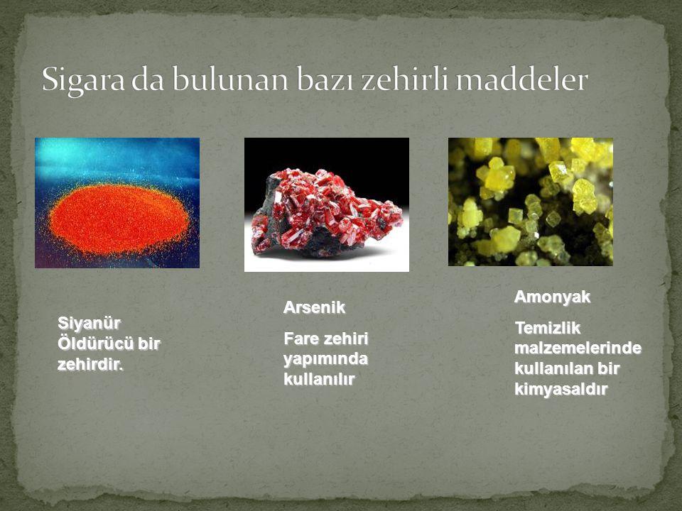 Siyanür Öldürücü bir zehirdir. Arsenik Fare zehiri yapımında kullanılır Amonyak Temizlik malzemelerinde kullanılan bir kimyasaldır