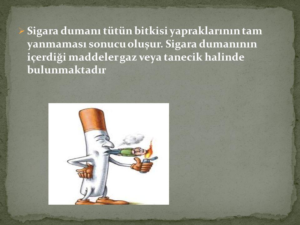  Sigara dumanı tütün bitkisi yapraklarının tam yanmaması sonucu oluşur. Sigara dumanının içerdiği maddeler gaz veya tanecik halinde bulunmaktadır