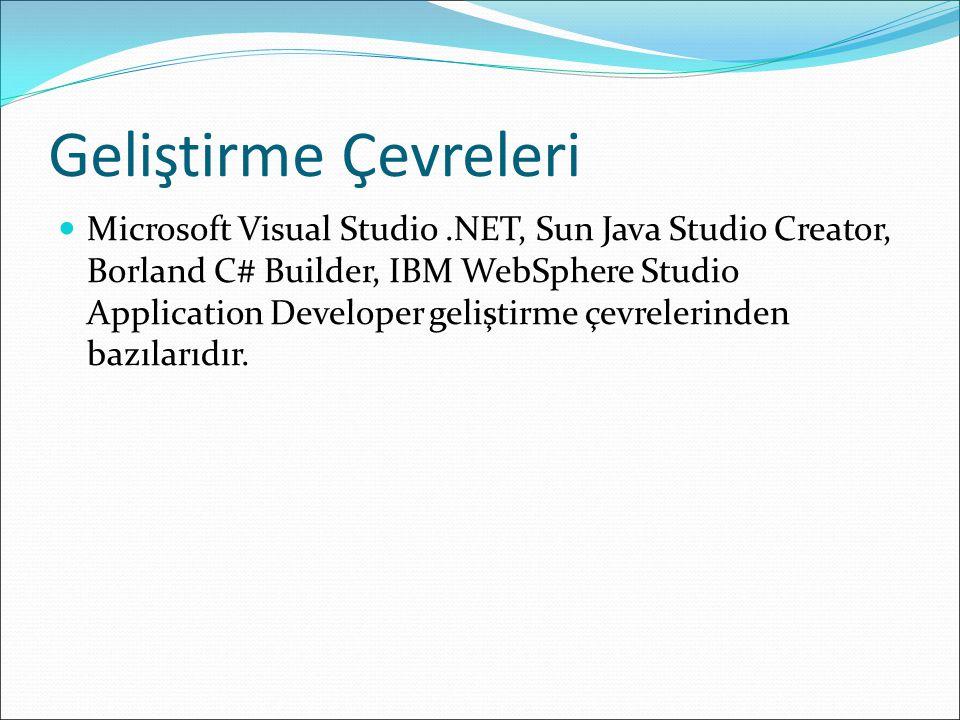 Geliştirme Çevreleri Microsoft Visual Studio.NET, Sun Java Studio Creator, Borland C# Builder, IBM WebSphere Studio Application Developer geliştirme çevrelerinden bazılarıdır.