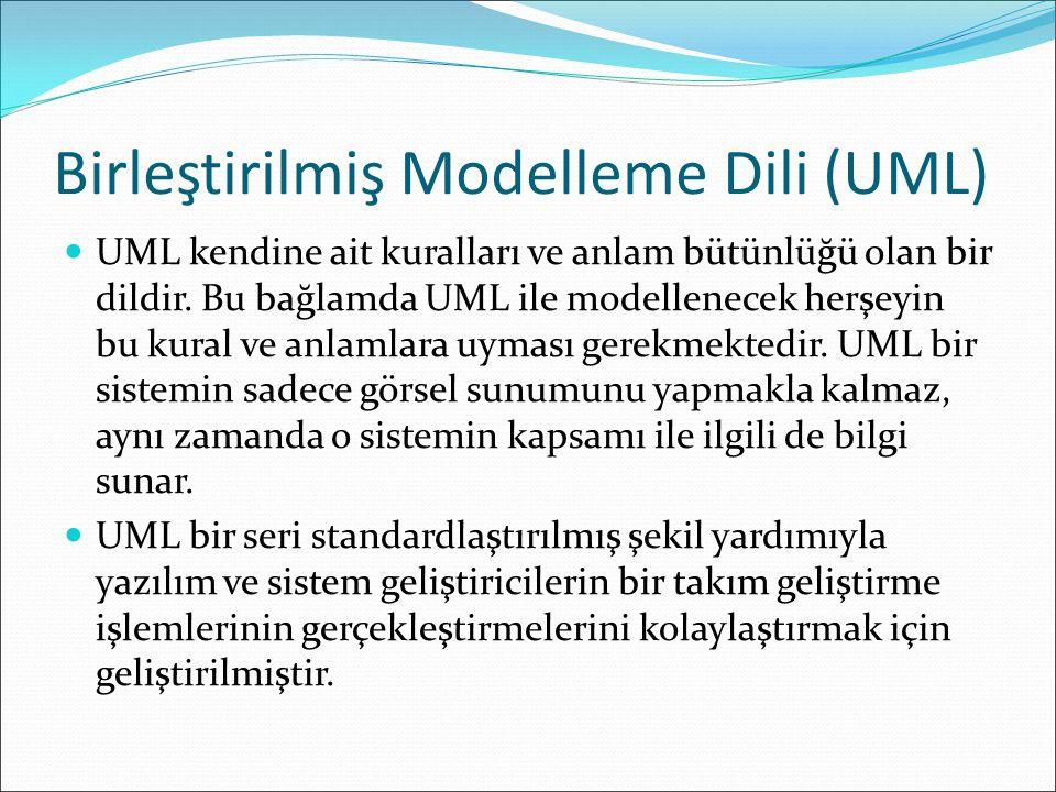 Birleştirilmiş Modelleme Dili (UML) UML kendine ait kuralları ve anlam bütünlüğü olan bir dildir.