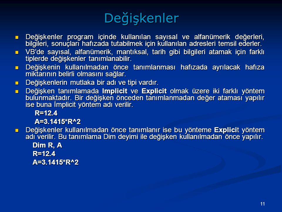11Değişkenler Değişkenler program içinde kullanılan sayısal ve alfanümerik değerleri, bilgileri, sonuçları hafızada tutabilmek için kullanılan adresle