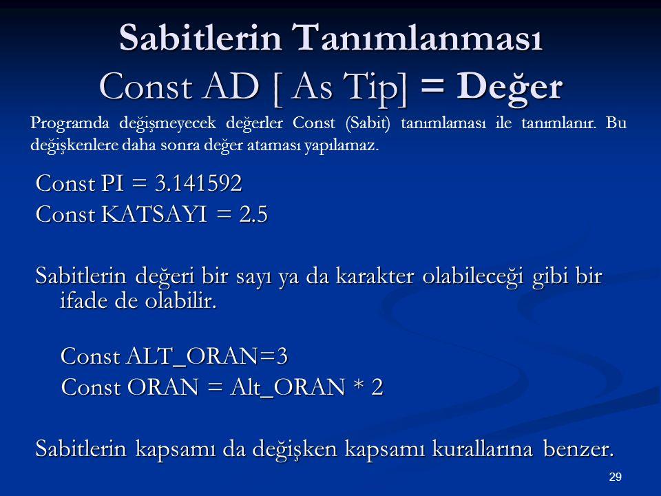 29 Sabitlerin Tanımlanması Const AD [ As Tip] = Değer Const PI = 3.141592 Const KATSAYI = 2.5 Sabitlerin değeri bir sayı ya da karakter olabileceği gibi bir ifade de olabilir.