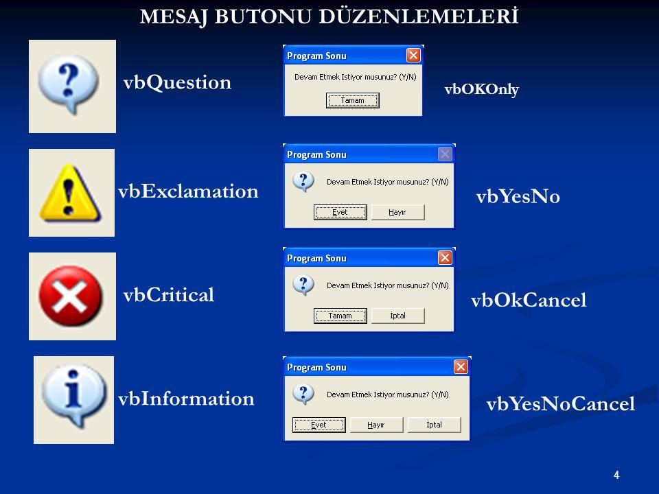 4 vbQuestion vbExclamation vbCritical vbInformation vbOKOnly vbYesNo vbOkCancel vbYesNoCancel MESAJ BUTONU DÜZENLEMELERİ