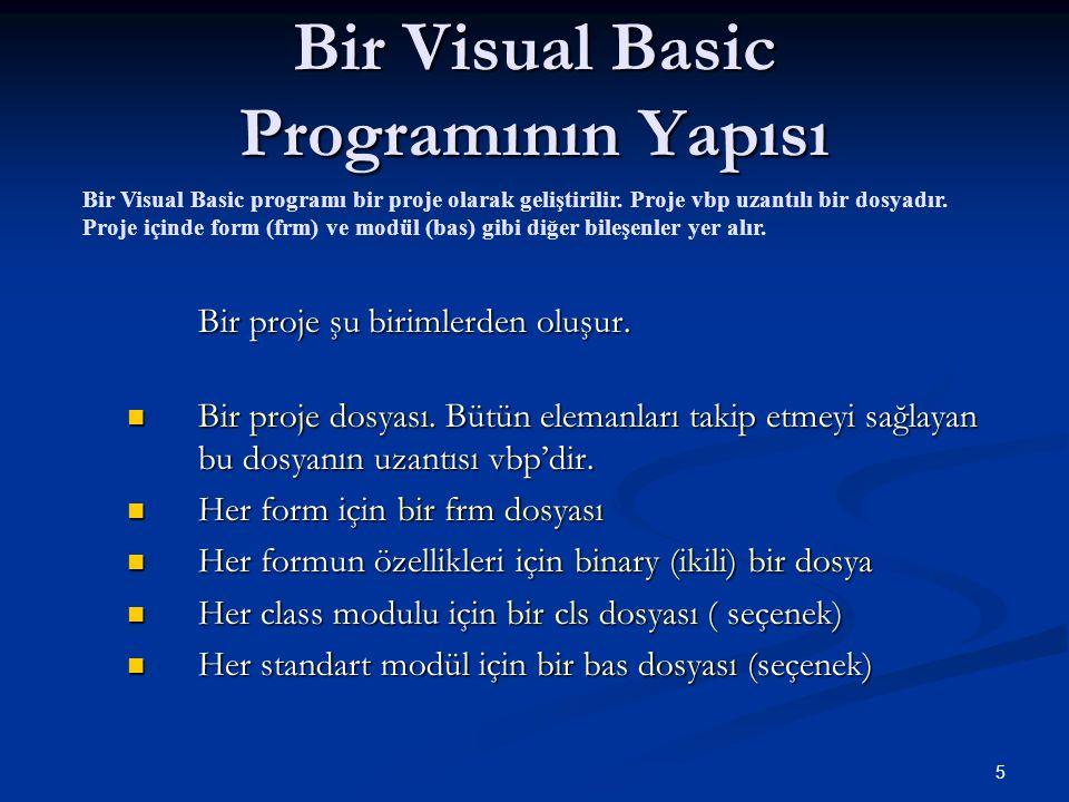 5 Bir Visual Basic Programının Yapısı Bir proje şu birimlerden oluşur. Bir proje dosyası. Bütün elemanları takip etmeyi sağlayan bu dosyanın uzantısı