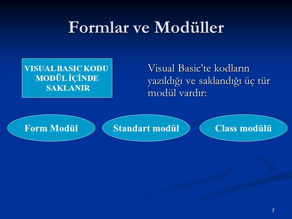 7 Formlar ve Modüller Visual Basic'te kodların yazıldığı ve saklandığı üç tür modül vardır: Form ModülClass modülüStandart modül VISUAL BASIC KODU MODÜL İÇİNDE SAKLANIR