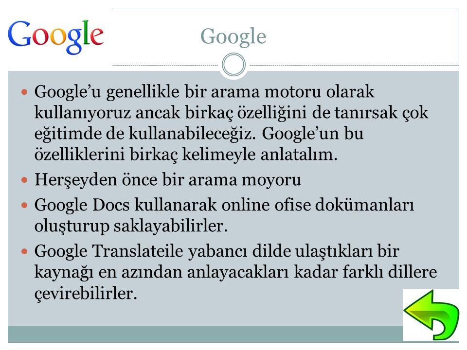 Google Google'u genellikle bir arama motoru olarak kullanıyoruz ancak birkaç özelliğini de tanırsak çok eğitimde de kullanabileceğiz.