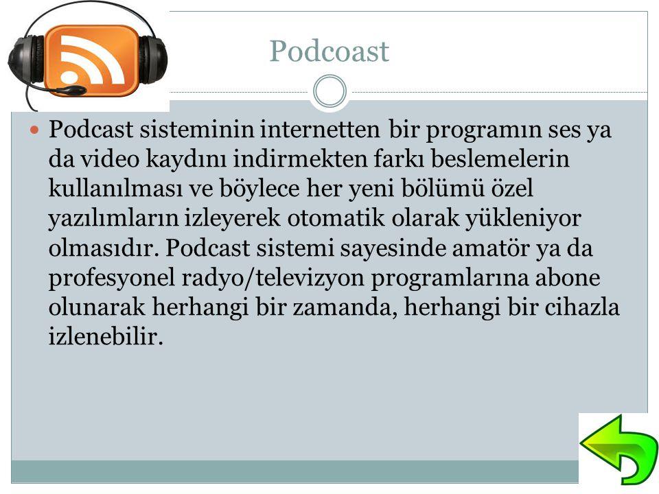 Podcoast Podcast sisteminin internetten bir programın ses ya da video kaydını indirmekten farkı beslemelerin kullanılması ve böylece her yeni bölümü özel yazılımların izleyerek otomatik olarak yükleniyor olmasıdır.
